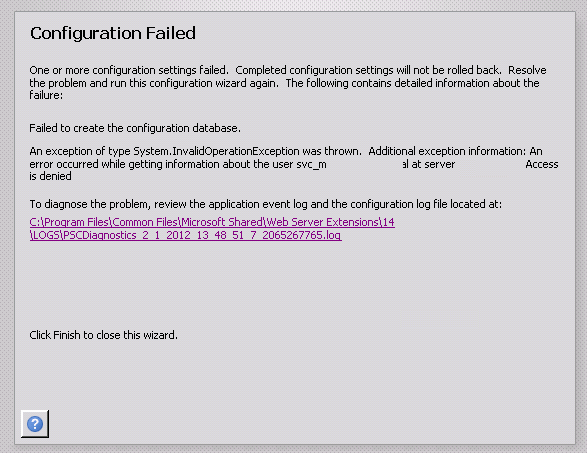 """An obscure """"failed to create the configuration database"""