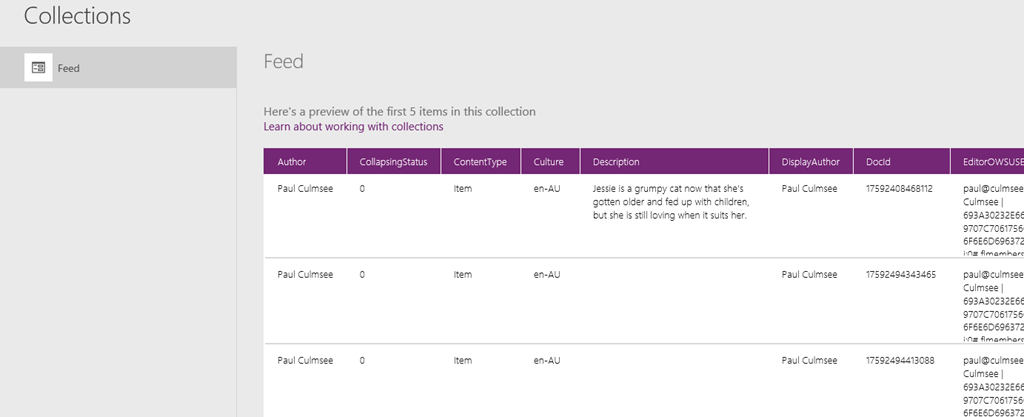 How to make a PowerApps activity feed via SharePoint search